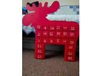 Linea Red Wooden Reindeer Advent Calendar