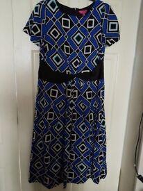 BLUE, BLACK AND WHITE DRESS BY ARLENE PHILLIPS