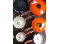 Retro 'Le Creuset' cast iron set of 5 pans (w/lids) & large frying pan in Volcanic Orange