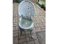 Cast aluminium garden chairs x4