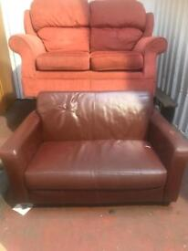 2 Seater Leatherette Sofa - Brown / used