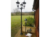 Set of three Outdoor Lamps. Lampost Triple Head, single post and wall light NEW.