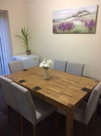 Solid Oak Brand New Rory Dining Table By August Grove From WayFair Website *£170*