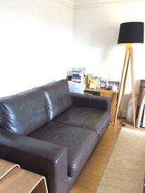 John Lewis 2-Seater Leather Sofa (Dark Brown)