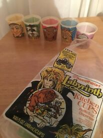 Rare Original Labyrinth 1986 Paper Party Cups David Bowie Jim Henson Hoggle Ludo Goblin Muppets