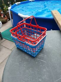 Play shopping trolley and baskets.