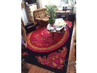 60s 70s carpet rug Mid Century Psycho FLOWER hippy DESSO? art deco danish german pink orange black