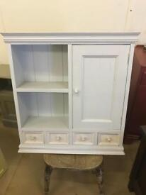 Pine shelf with cupboard and drawers