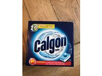Box of calgon 2 in 1 washing machine tablets
