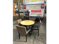 Beech wood Table and 4 leather and material chairs
