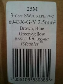 Armoured cable, 25m 2.5mm² SWA, new, unopened box.