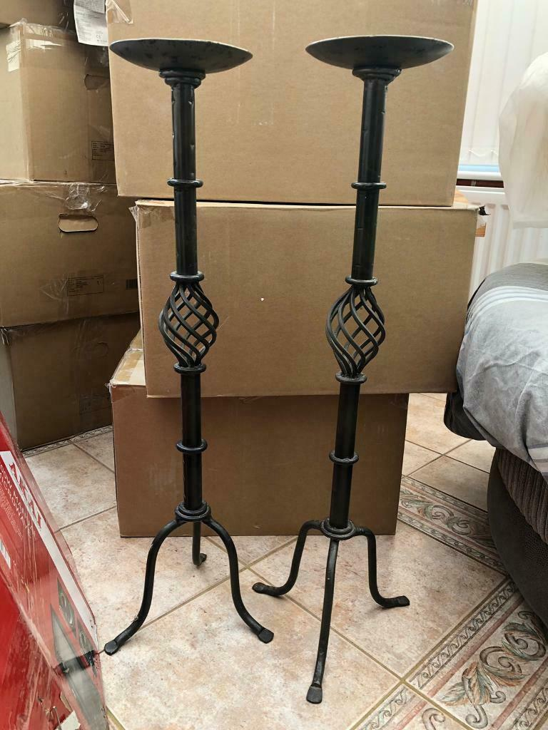 Pair Of Floor Standing Candle Holders Metal In Needham Market