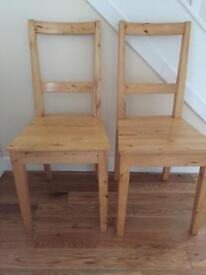 4 Ikea solid birch wood chairs