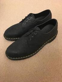 Dr. Martens 1461 3 eyelet black python suede shoes new