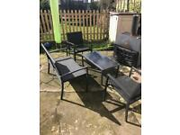 Rattan garden furniture set of sofa table and 2 chairs