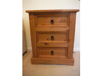 Solid Pine Bedside Table with 3 Drawers