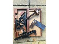 Vintage Collection, comprising Set Square, Pipe Grips, and Mallet