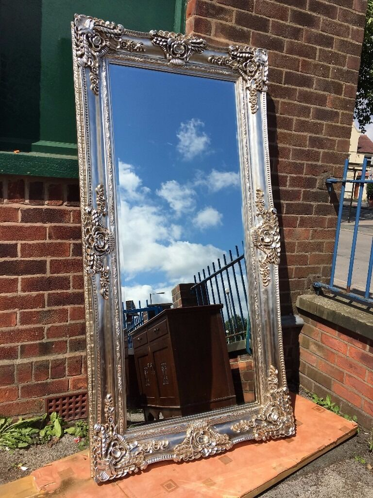 Large French Ornate Rococo Mirror Silver New Very Thick Frame