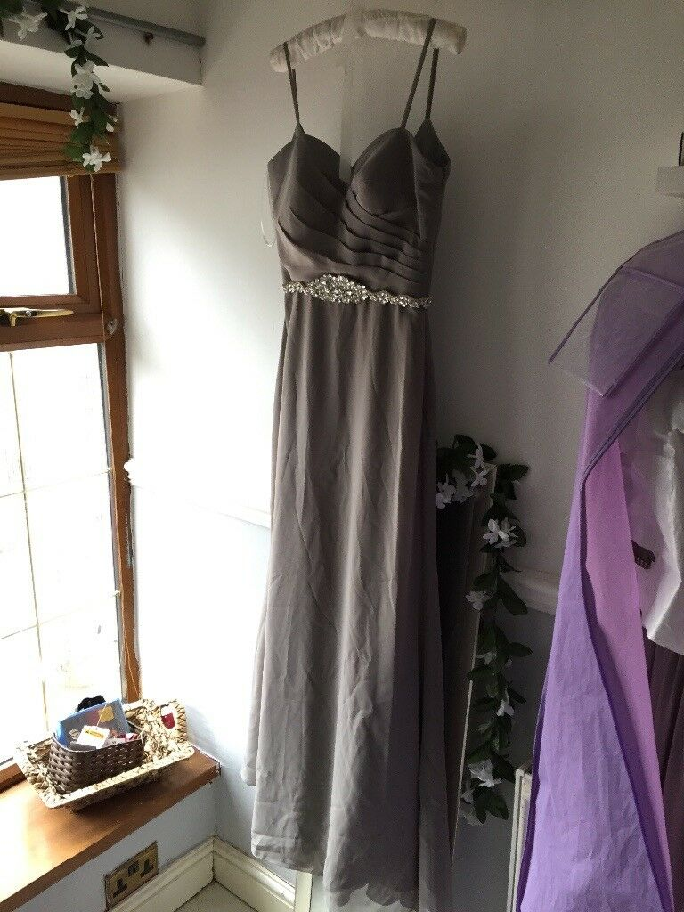 Grey For Him and For Her bridesmaid/prom dress