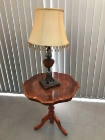 Table and lamp.