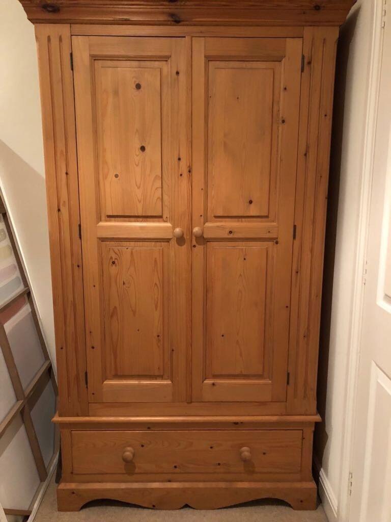 Solid Pine Double Door Wardrobe