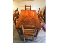 Solid wood ding kitchen table and 6 chairs