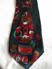 Silk Christmas light up teddy tie