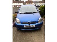 Blue colour collection Toyota Yaris. 2003. Petrol, new MOT