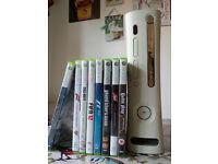 Xbox 360, Rock Band drums+guitar+mic, Force Feedback steering wheel+pedals, 2 w/less pads, 8 games