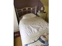 Cute Single Bed, Metal white frame with heart details. Frame & Mattress from Next.