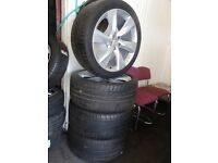 "SET OF 21"" NISSAN 5 STUD ALLOYS GUD 295 35 21 TYRES ALL ROUND JUST REFURBD open HOL FRI 5PM pm"