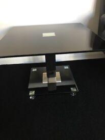 Black glass side tables
