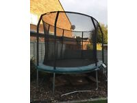 JumpKing Trampoline 13ft x 9ft JumpPOD Oval - including safety net and ladder