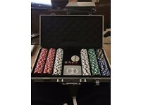 American casino spec poker set in silver briefcase