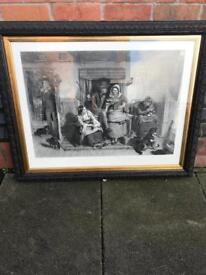 Black and white print in an expensive black frame