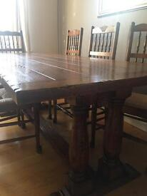 Brights of Nettlebed Oak Dining Table with 8 ladderback chairs