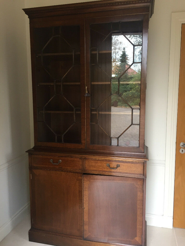 Mahogany Bookcase Barrister Glass Doors Reproduction