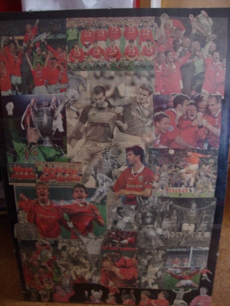 Collectable Manchester United 1998/99 treble season posters.