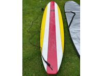 Surfboard - 8ft stylish Mini Mal / longboard with bag, only used once