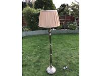 Gold metal standard lamp with gold shade ( can deliver )