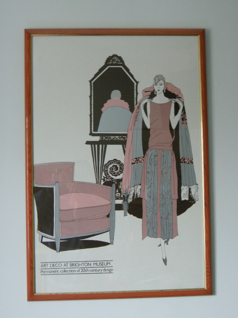 Vintage Art Deco Print in Quality Pink Frame