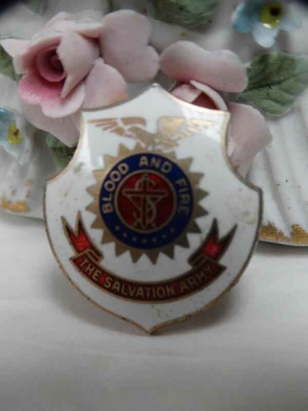 The Salvation Army Blood and Fire ornate enamel Clip Back Emblem