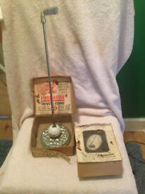 Rare vintage golf club &ball fire poker stand with orginal box you cant get this with box anywhere