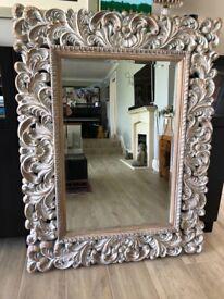 Ornate white wash effect mirror