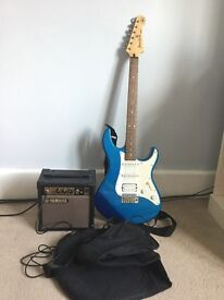 Yamaha Pacifica Electric Guitar with amp, case and strap