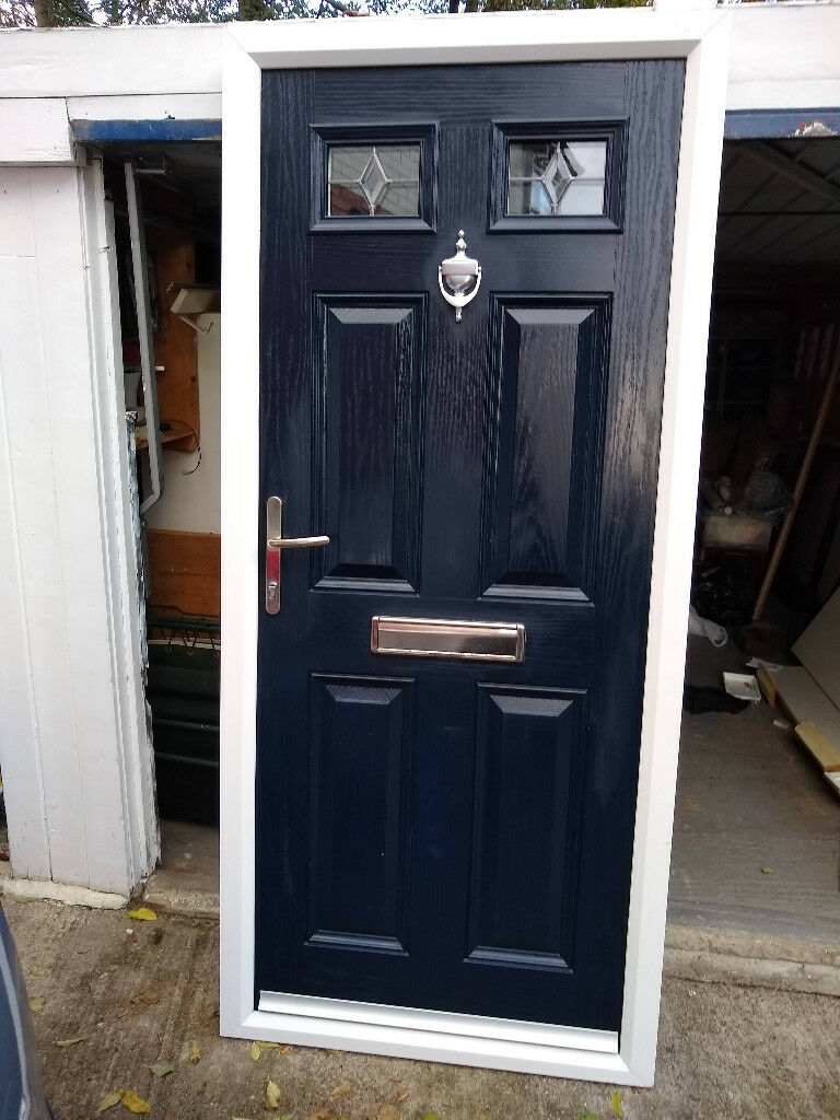 on sale 08123 6f165 Composite Front Door In Perfect Condition - Navy Blue & White - Anti-Snap -  2 Keys | in Oakwood, West Yorkshire | Gumtree