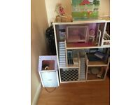 3 storey wooden dolls house and accessories