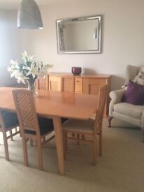 Beech effect dininig table 6 seats and sideboard