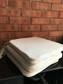 4 cream seat cushions with ties £3