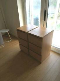 Wood/brown Double set of drawes/cabinets